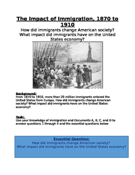 Gilded Age: Impact of Immigration, 1870 to 1910- How did s