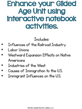 Gilded Age Interactive Notebook Activities, Late 19th Century