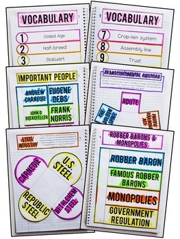 Gilded Age Interactive Notebook & Graphic Organizers
