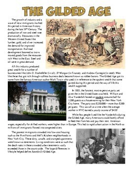 Gilded Age Reading and Worksheet