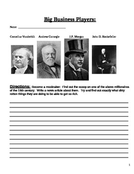 Gilded Age:  Robber Barons Muckraker Activity