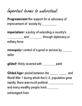 Gilded Age Timeline Activity