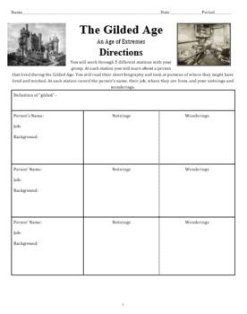 Gilded Age Worksheet