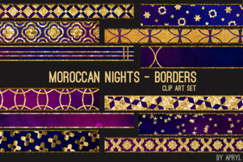Moroccan Nights Art Border Clip Art 32 JPG Clip Art Strips 12in Glitter Foil