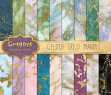 Gilded Gold Marble Digital Paper Textures, Marble backgrounds