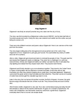 Gilgamesh Article and Assignment