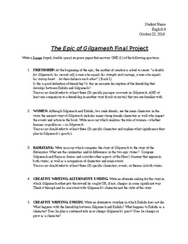 Gilgamesh Final Essay - Guidelines and Choice of Topics