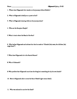 Gilgamesh (Herbert Mason translation) reading quizzes (two 20 question quizzes)
