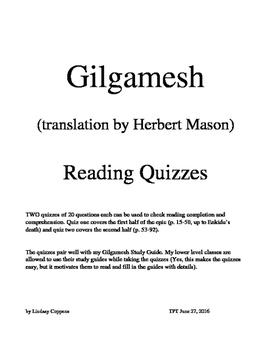 Gilgamesh (Herbert Mason translation) reading quizzes (two
