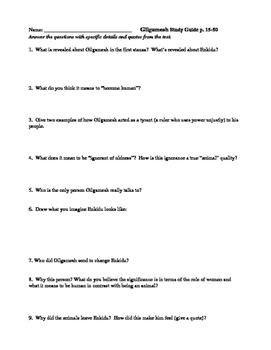 Gilgamesh (Herbert Mason translation) study guide, 64 questions