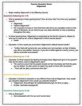 Gilgamesh Reading Guide and Teacher Key
