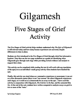 gilgamesh stages of grief activity discussion starter essay  gilgamesh stages of grief activity discussion starter essay assessment