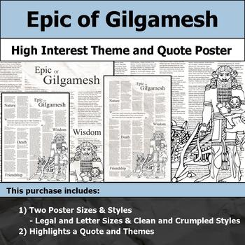 Epic of Gilgamesh - Visual Theme and Quote Poster for Bulletin Boards