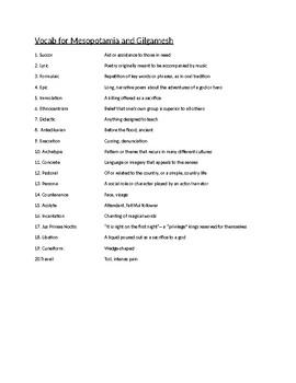 Gilgamesh Vocabulary