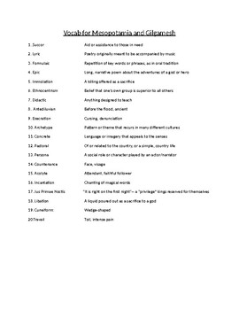 Gilgamesh Vocabulary from Prentice Hall World Masterpieces text