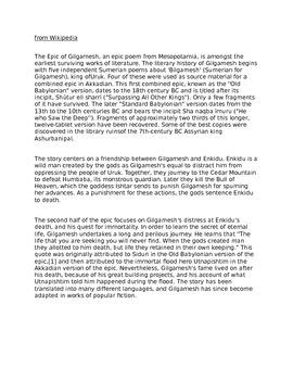 Gilgamesh in a Day 20-23 Reading Skills Worksheet
