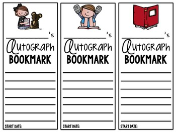 Gimme Your Autograph {Reading Bookmark}