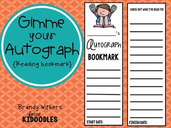 Gimme Your Autograph Reading Bookmark