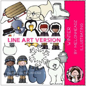 Melonheadz: Winter clip art - LINE ART