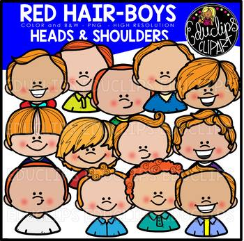 Red Hair Boys Heads & Shoulders Clip Art Set {Educlips Clipart}