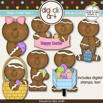 Ginger Easter Eggs 1 -  Digi Clip Art/Digital Stamps - CU Clip Art
