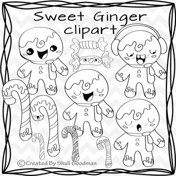 Ginger bead men clipart - candy can and ginger bread man digital art