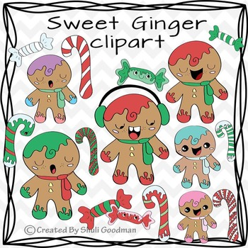 Ginger bead men clipart - candy can and ginger bread man d