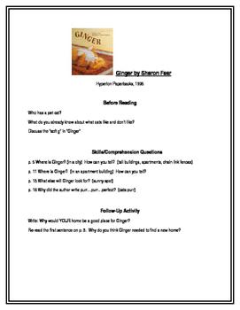 Ginger for Guided Reading Groups (1st grade)
