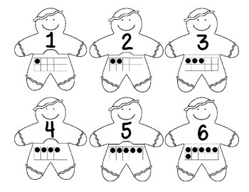 Gingerbread 0-20 Number Puzzles Math Center