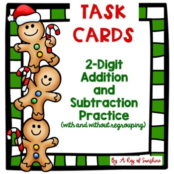 Gingerbread 2-Digit Addition and Subtraction Task Cards