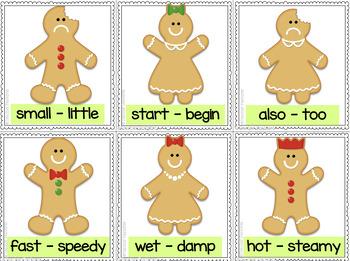 Gingerbread Man Literacy: Antonyms & Synonyms Word Sort