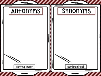 Gingerbread Man Activities ANTONYMS & SYNONYMS WORD SORTS