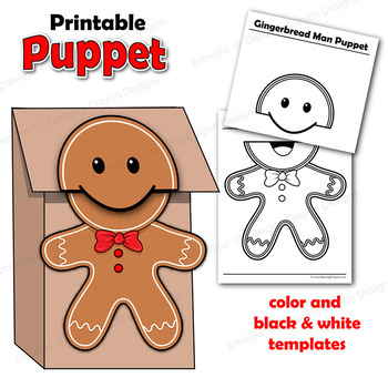 picture regarding Printable Gingerbread Man identified as Gingerbread Gentleman Craft Video game: Printable Paper Bag Puppet Templates