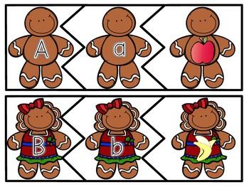 Gingerbread 3 Piece Puzzle Alphabet Beginning Initial Sounds