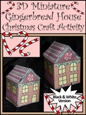 Gingerbread Activities: 3D Miniature Gingerbread House Christmas Craft - BW