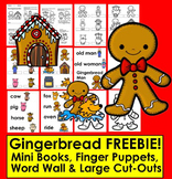 Gingerbread Man Activities Free: Mini Book, Finger Puppets, Word Wall, CutOuts