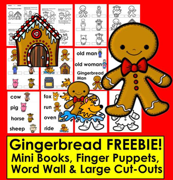 Winter word walls resources lesson plans teachers pay teachers cutouts gingerbread man activities free mini book finger puppets word wall cutouts sciox Gallery