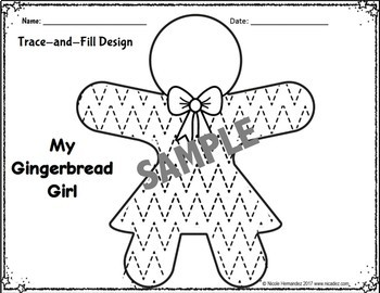 Gingerbread Activities - Trace and Fill Design Sheets