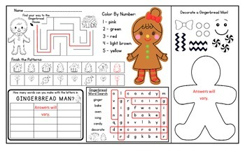 Gingerbread Activity Mat - A Page FULL Of Fun Gingerbread Activities!