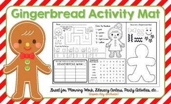 Gingerbread Activity Mat - A Page FULL Of Fun Gingerbread