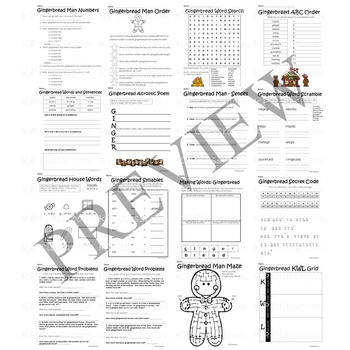 Gingerbread Activity Packet and Christmas Holiday Worksheets