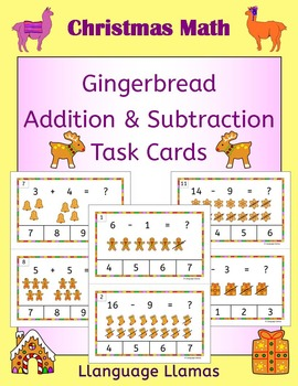 Christmas Addition and Subtraction Count and Clip for Math Center - Gingerbread