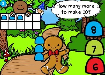 Gingerbread Addition to 10 Using a Ten Frame Power Point Game