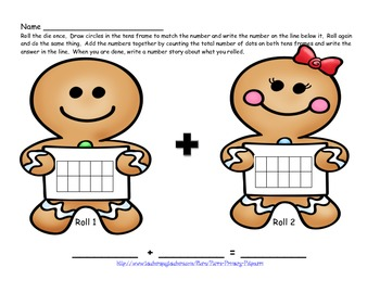 Gingerbread Addition with Tens Frame