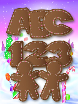 Gingerbread Alphabet - 58 Glyphs - Numbers - Latin Letters