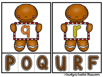 Gingerbread Alphabet Clip Cards (Lowercase and Uppercase Letters)