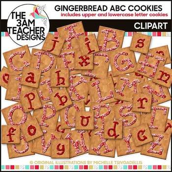 Gingerbread Alphabet Cookies Clip Art Set: Set 1