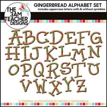 Gingerbread Alphabet Cookies Clip Art Set: Set 2