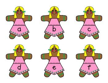 Gingerbread Alphabet Match Center {color version}