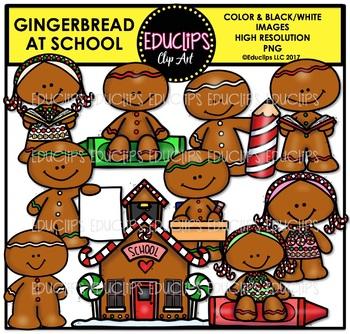 Gingerbread At School Clip Art Bundle {Educlips Clipart}